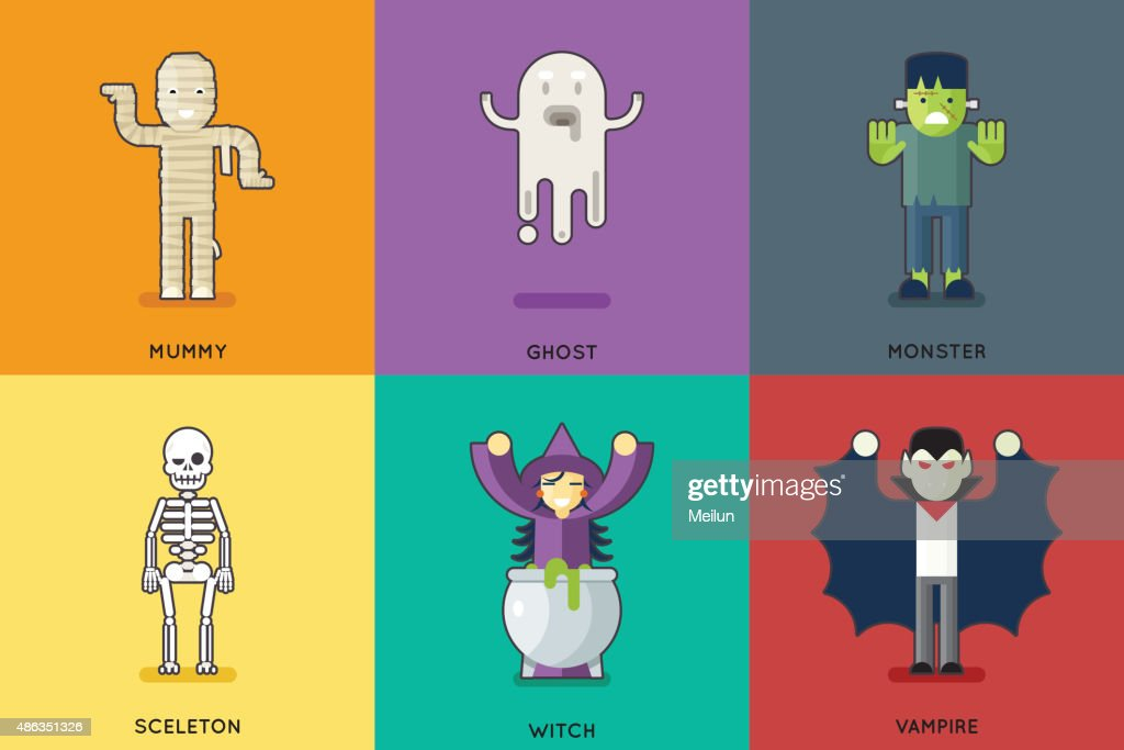 Halloween Party Roles Characters Icons Set Stylish Background Flat Design