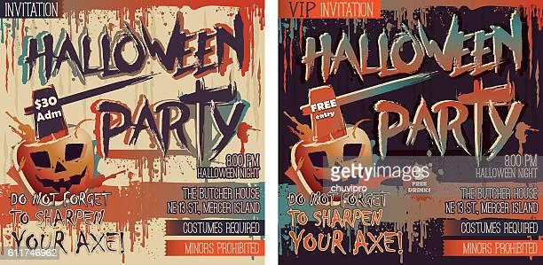2つの正方形の招待状のハロウィンパーティーセット - 血しぶき点のイラスト素材/クリップアート素材/マンガ素材/アイコン素材