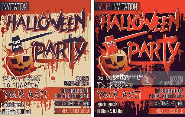 2つの垂直レターサイズ招待状カードのハロウィーンパーティーセット - 血しぶき点のイラスト素材/クリップアート素材/マンガ素材/アイコン素材