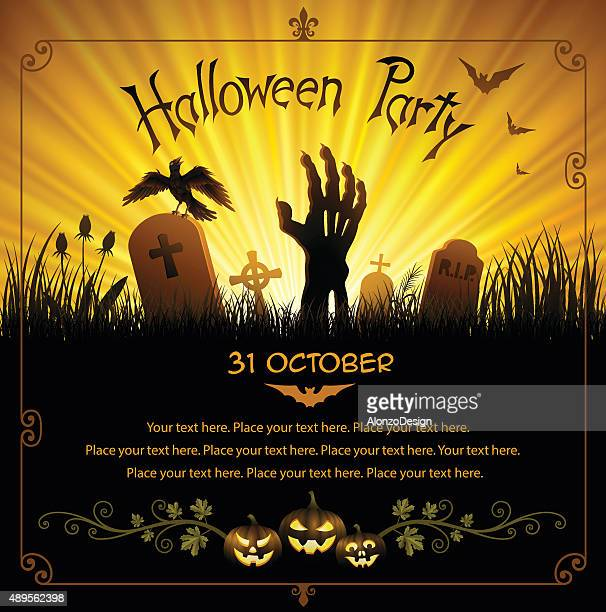 halloween party - grave stock illustrations, clip art, cartoons, & icons