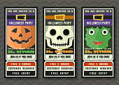 Halloween party vector invitation ticket style with cartoon character