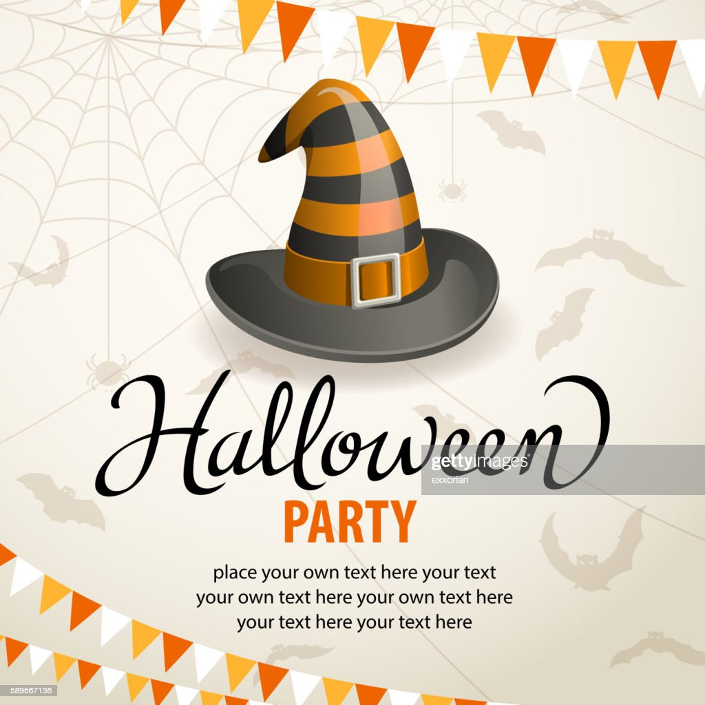 Halloween Party with Witch Hat : stock illustration