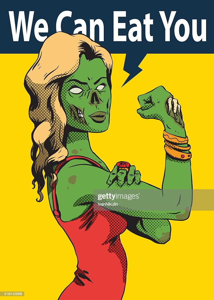 Halloween poster, green zombie young girl