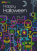 abstract geometric halloween template