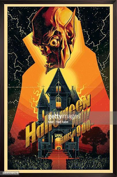 ilustraciones, imágenes clip art, dibujos animados e iconos de stock de cartel de halloween - monstruo