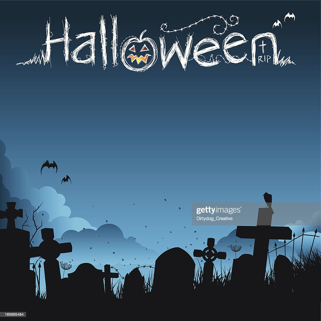 Halloween poster with graveyard