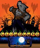 Halloween poster with werewolf. Vector illustration.