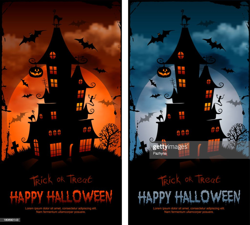 Halloween posters with haunted house and flying bats