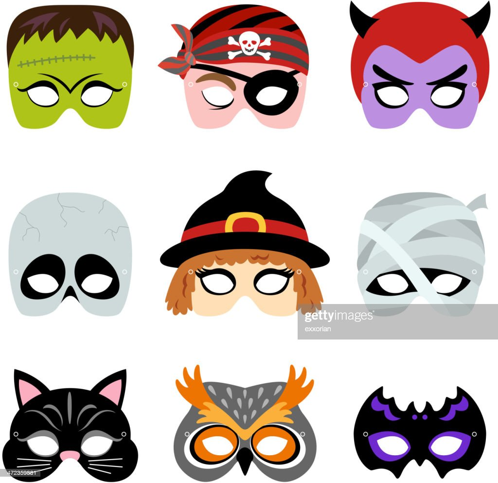 Halloween Printable Masks : stock illustration