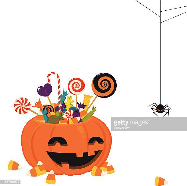 ilustrações, clipart, desenhos animados e ícones de cesta de abóbora de halloween - comida doce
