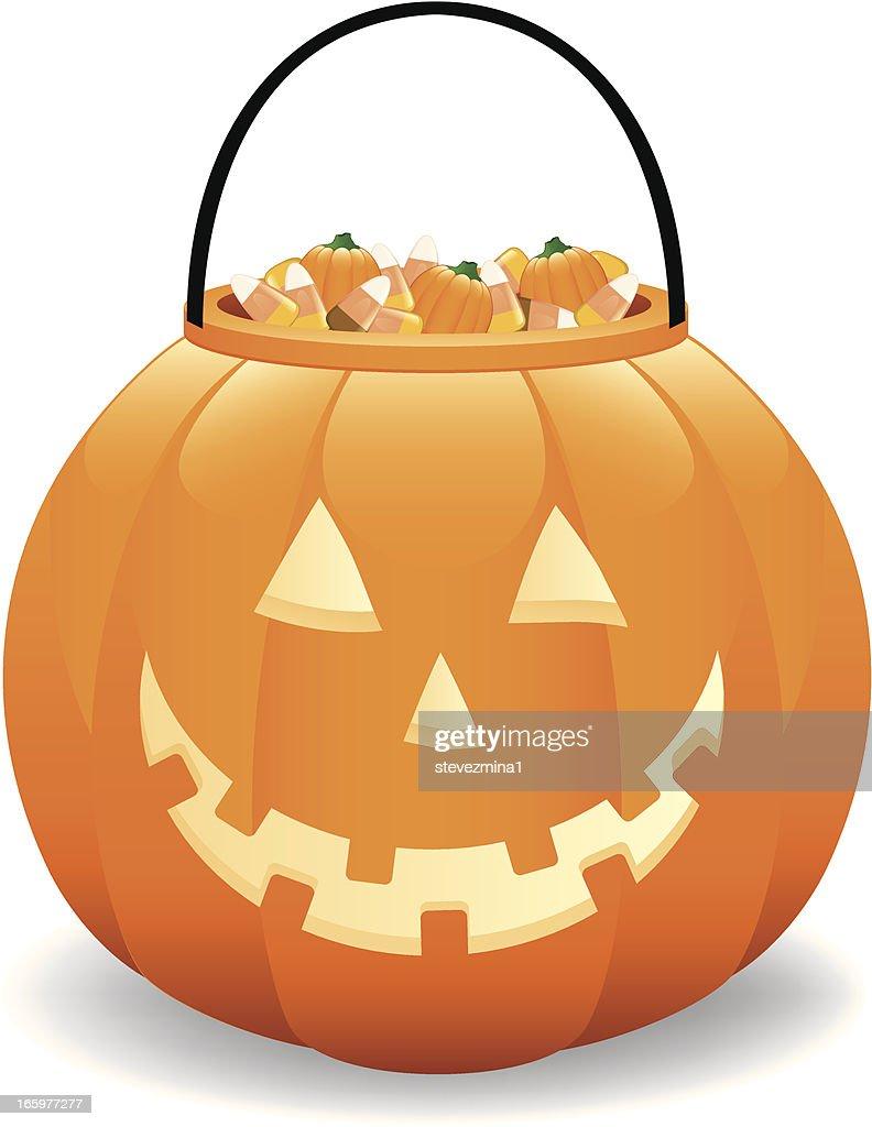 Halloween Pumpkin Candy Bucket Jack O Lantern Vector Illustration