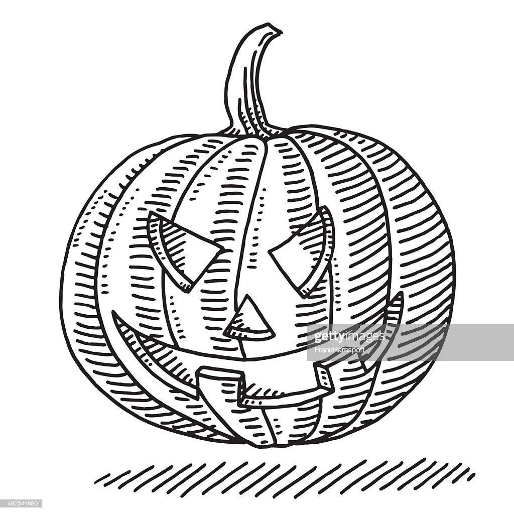 halloween pumpkin drawing vector art