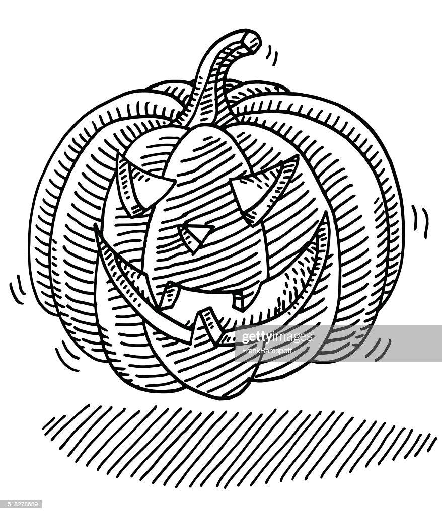 halloween pumpkin face drawing vector art