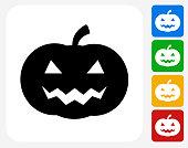 Halloween Pumpkin Face Icon Flat Graphic Design