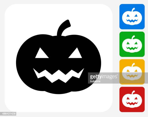 Halloween Pumpkin Face Icon Flat Graphic Design