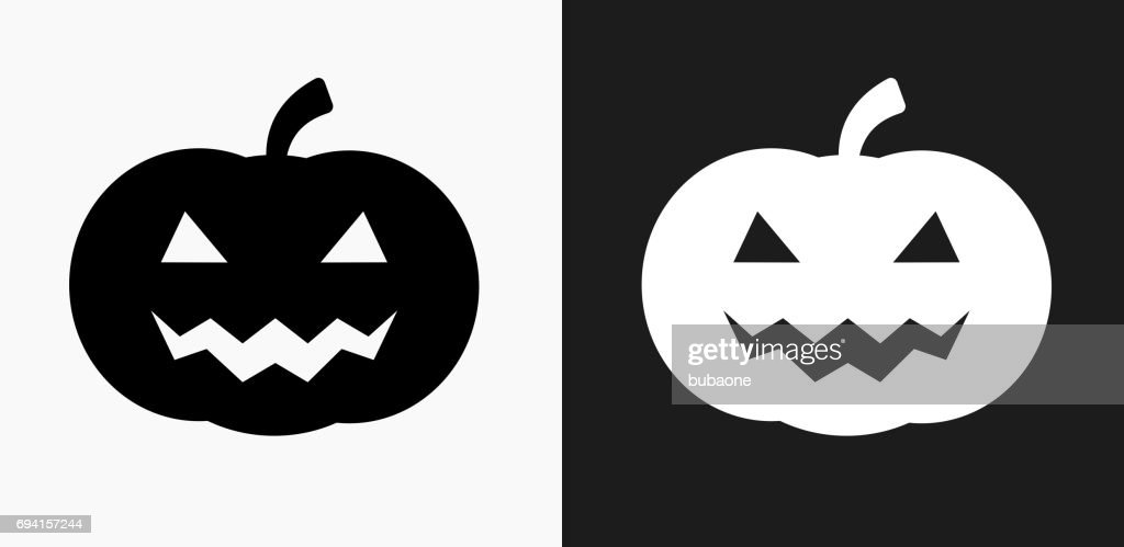 Halloween Pumpkin Face Icon On Black And White Vector Backgrounds ...