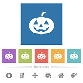 Halloween pumpkin flat white icons in square backgrounds