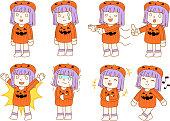 Halloween pumpkin girl set