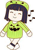 Halloween pumpkin girl