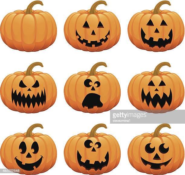 halloween pumpkin jack  o' lantern vector illustration collection - jack o lantern stock illustrations, clip art, cartoons, & icons