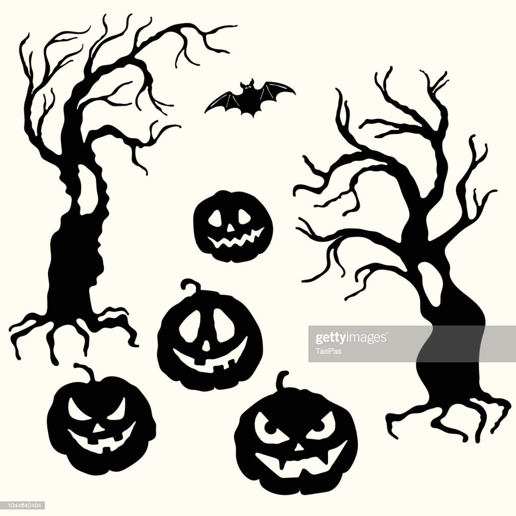 Halloween pumpkin lantern and tree stencil template