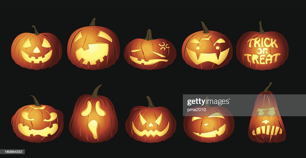 Halloween Pumpkin lanterns at night