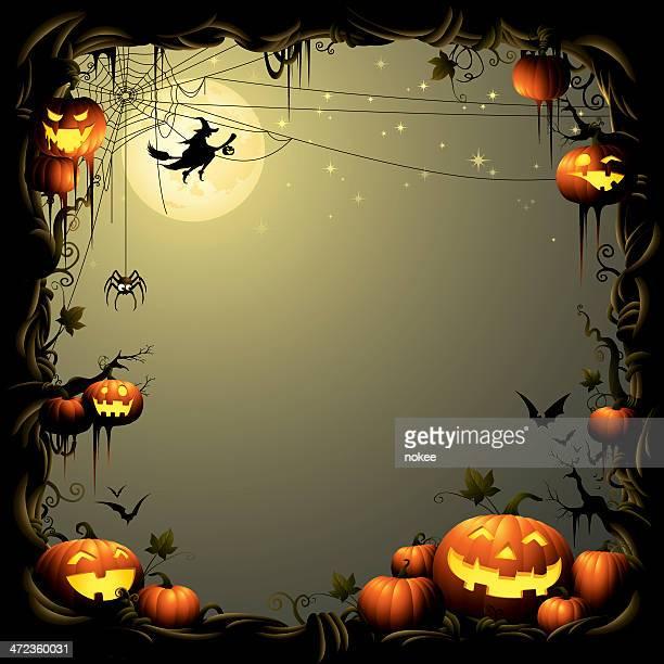 halloween pumpkin pile - border - pumpkin stock illustrations, clip art, cartoons, & icons