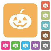 Halloween pumpkin rounded square flat icons