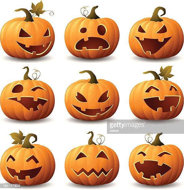 halloween kürbis-set - riesenkürbis stock-grafiken, -clipart, -cartoons und -symbole