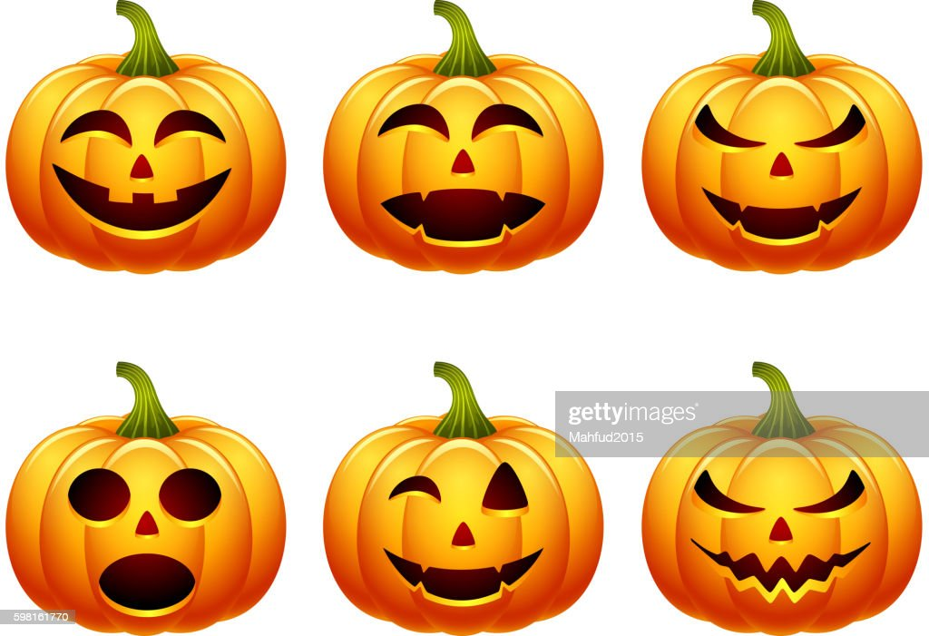Halloween pumpkin set with different expressions
