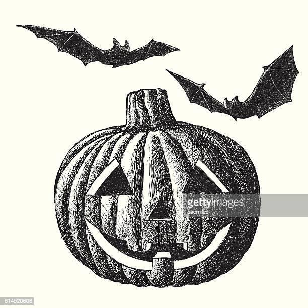 halloween pumpkin sketch - jack o lantern stock illustrations, clip art, cartoons, & icons