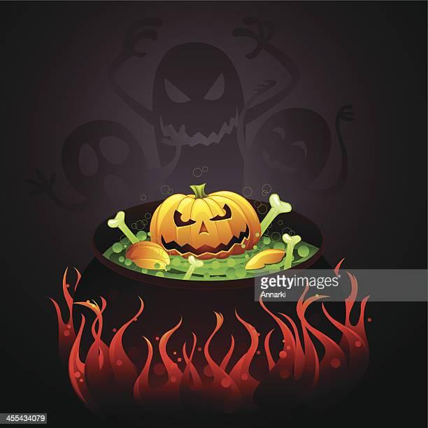 halloween pumpkin soup - cauldron stock illustrations, clip art, cartoons, & icons