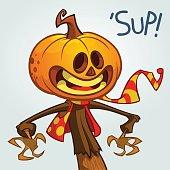 Halloween pumpkin. Vector jack-o-lantern character mascot
