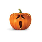 Halloween pumpkin with screaming face. Vector halloween design element.