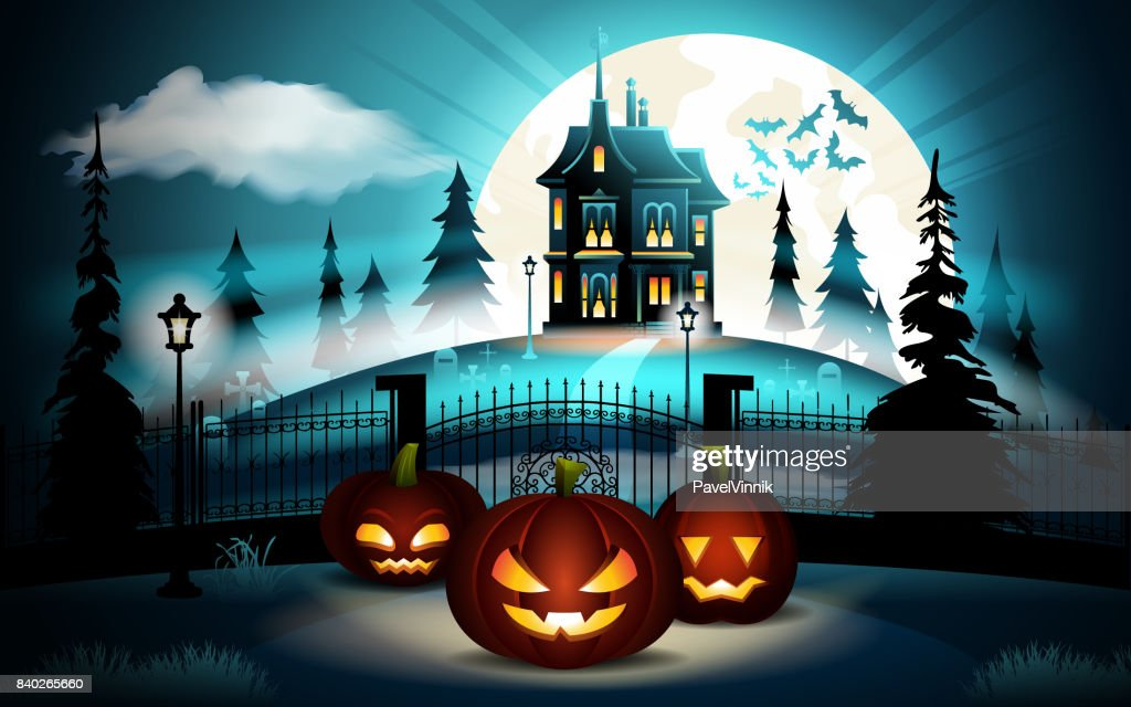 Halloween pumpkins in graveyard and dark castle on blue Moon background, illustration.