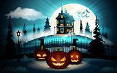 Halloween pumpkins in graveyard and dark castle on blue Moon background, illustration.