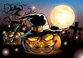 Halloween pumpkins on night fullmoon
