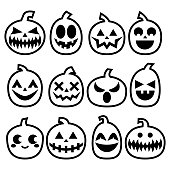 Halloween Pumpkins vector icon set, Halloween scary faces design collection, stroke pumpkin decoration in black on white background
