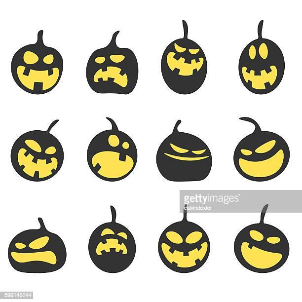 halloween pumpkins - jack o lantern stock illustrations, clip art, cartoons, & icons