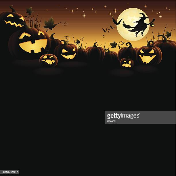 halloween pumpkins with flying witch - pumpkin stock illustrations, clip art, cartoons, & icons