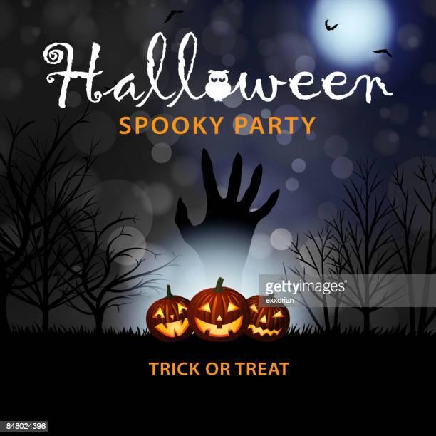 halloween pumpkins & zombie hand - rest in peace stock illustrations