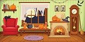 Halloween room interior. Vector illustration.