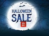 Halloween sale. Vector banner.