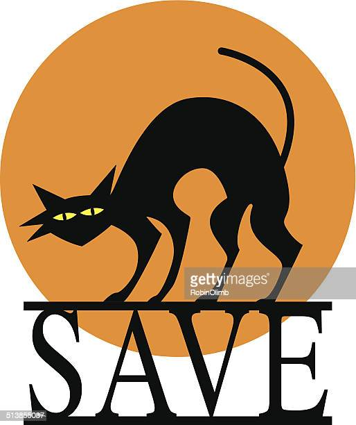 halloween save cat - halloween cats stock illustrations