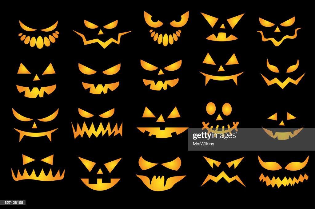 Halloween scary faces set VECTOR