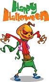 Halloween scary pumpkin head scarecrow,vector postcard for Hallo