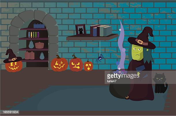 Halloween Scene: Witch in Dungeon