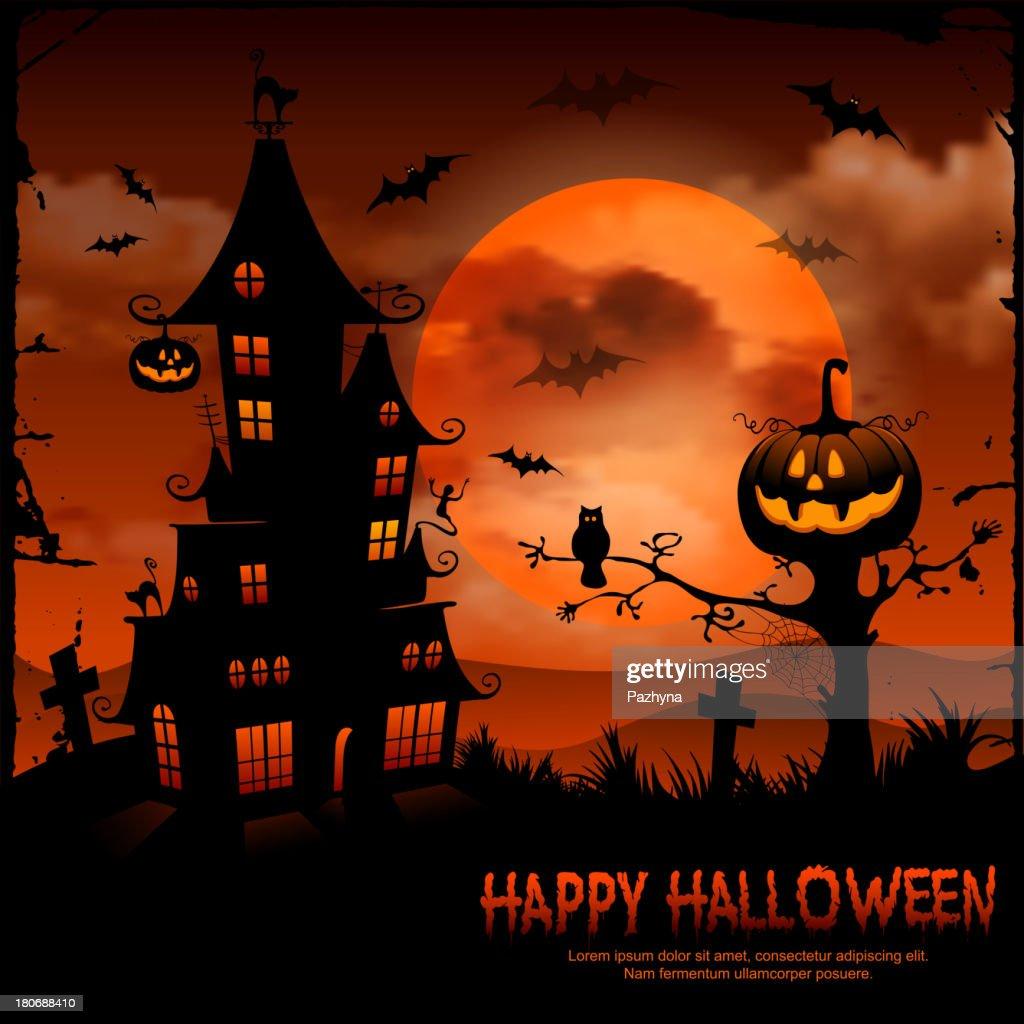 Halloween scene with pumpkin and haunted house