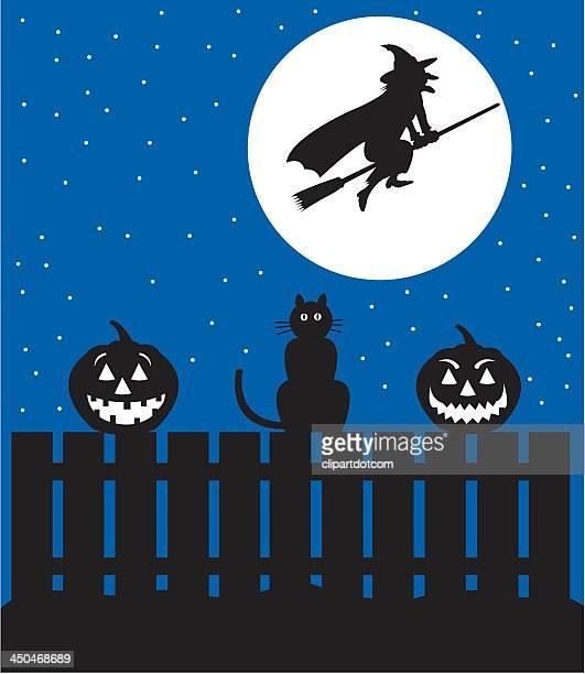 illustrations, cliparts, dessins animés et icônes de scène de sorcière d'halloween vous mènera et jack o'des lanternes - chat noir