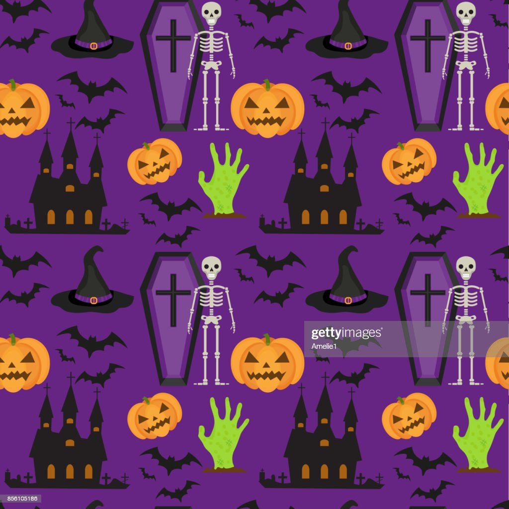 Halloween seamless pattern. Scary repeating texture with coffin, castle, pumpkin. Endless background. Vector illustration.